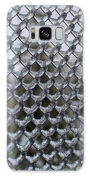 Ice On Chain Link Fence Galaxy Case by Douglas Pike