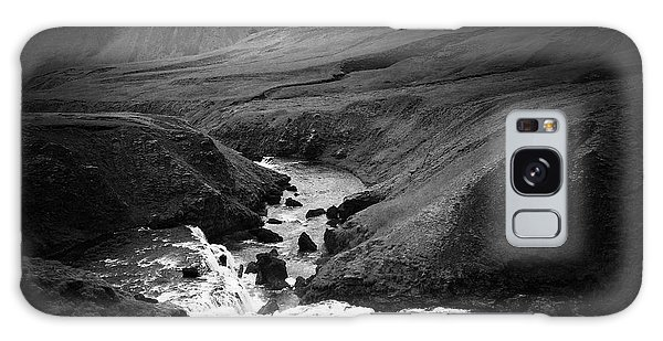 Landscapes Galaxy Case - Iceland Landscape With River And Mountain Black And White by Matthias Hauser