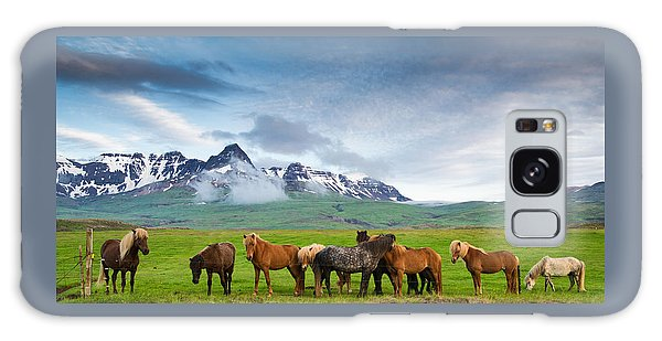 Icelandic Horses In Mountain Landscape In Iceland Galaxy Case by Matthias Hauser