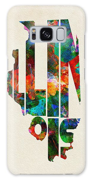 Vintage Chicago Galaxy Case - Illinois Typographic Watercolor Map by Inspirowl Design