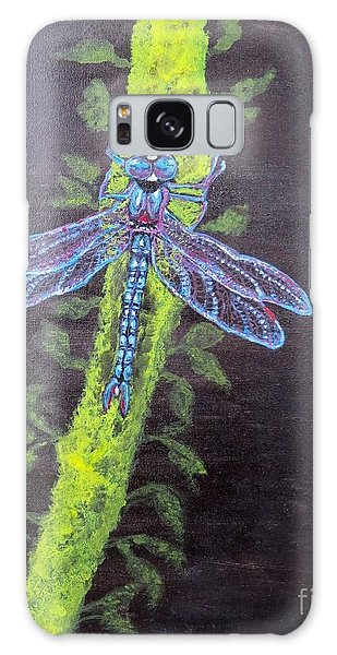 Illumination Of A Blue Dragonfly's Form At Nightfall Painting Galaxy Case