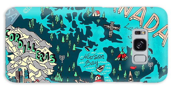 Vancouver City Galaxy Case - Illustrated Map Of Canada. Travel by Daria i