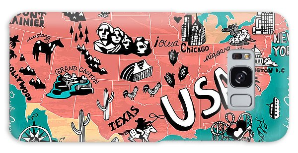 Atlantic Ocean Galaxy Case - Illustrated Map Of Usa by Daria i