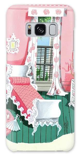 Illustration Of A Victorian Style Pink And Green Galaxy Case