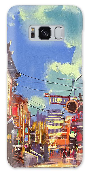 Downtown Galaxy Case - Illustration Painting Of Shopping by Tithi Luadthong