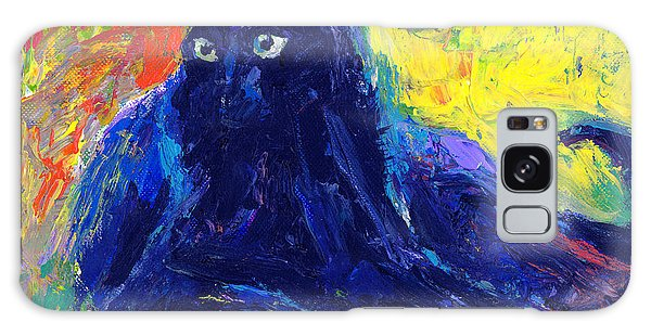 Russian Impressionism Galaxy Case - Impasto Black Cat Painting by Svetlana Novikova