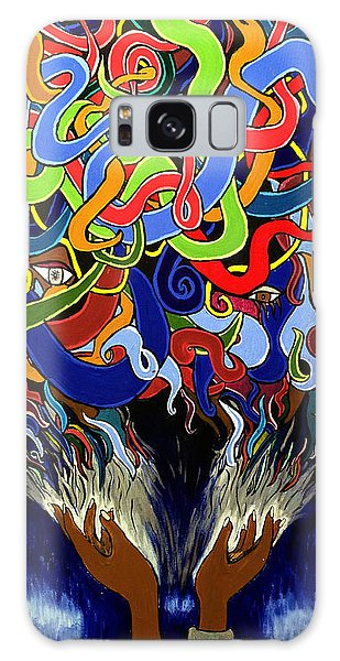 Colorful Abstract Art Painting, Creative Energy Flow Art, Afrofuturism Galaxy Case