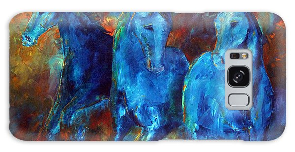 Abstract Horse Painting Blue Equine Galaxy Case