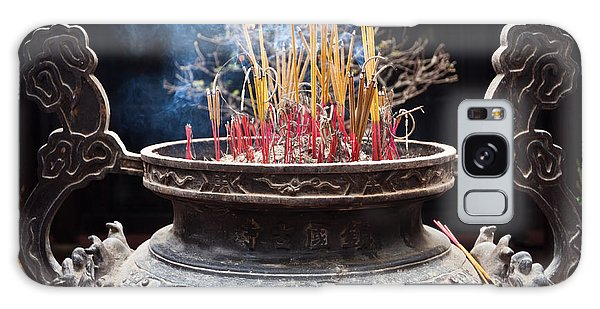 Incense Sticks Burn In Large Ceremonial Temple Urn Galaxy Case