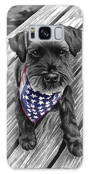 Watercolor Schnauzer Black Dog Galaxy Case