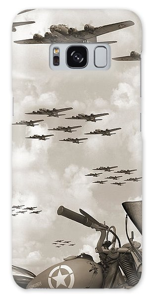 Bomber Galaxy Case - Indian 841 And The B-17 Panoramic Sepia by Mike McGlothlen
