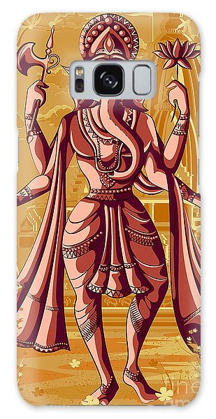 Spirituality Galaxy Case - Indian God Ganpati In Blessing Posture by Vecton