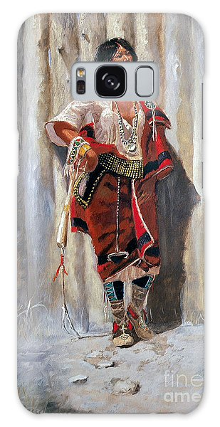 Indian Maid At Stockade By Charles Marion Russell Galaxy Case