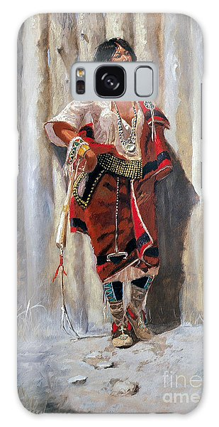 Indian Maid At Stockade By Charles Marion Russell Galaxy Case by Pg Reproductions