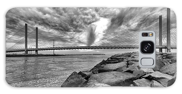 Indian River Bridge Clouds Black And White Galaxy Case by Bill Swartwout