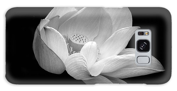 Indian Sacred Lotus In Black And White Galaxy Case