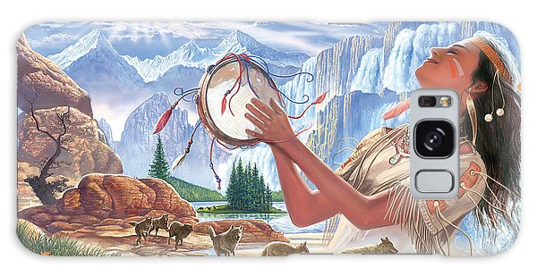 Cottage Galaxy Case - Indian Squaw And The Wolves by MGL Meiklejohn Graphics Licensing
