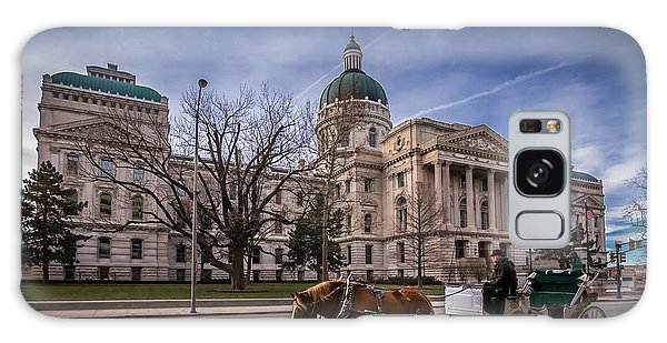 Indiana Capital Building - Front With Horse Passing Galaxy Case