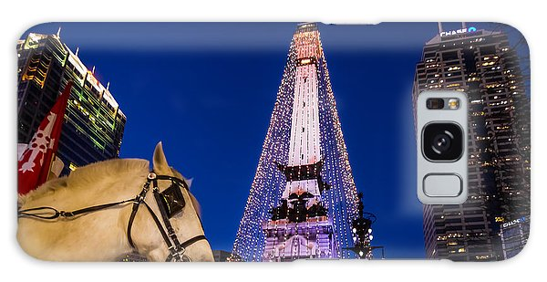 Indiana - Monument Circle With Lights And Horse Galaxy Case