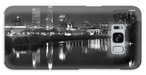 Indianapolis Galaxy Case - Indianapolis Skyline At Night Indy Downtown Black And White Bw Panorama by Jon Holiday