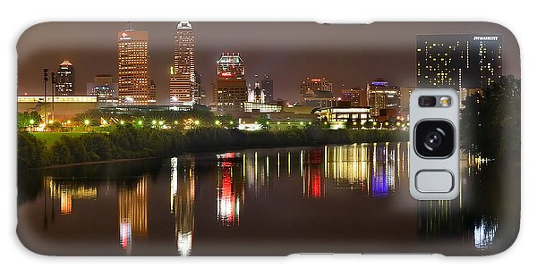 Indianapolis Galaxy Case - Indianapolis Skyline At Night Indy Downtown Color Panorama by Jon Holiday