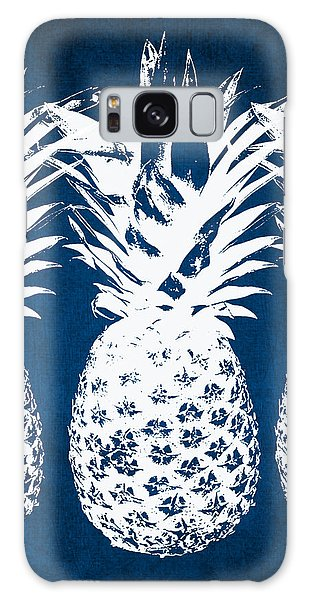 Woods Galaxy Case - Indigo And White Pineapples by Linda Woods
