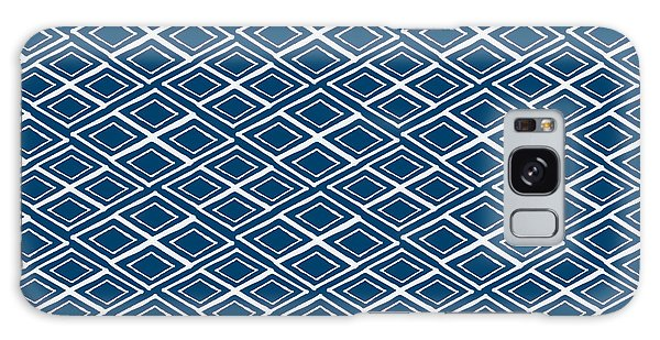 Indigo And White Small Diamonds- Pattern Galaxy Case by Linda Woods