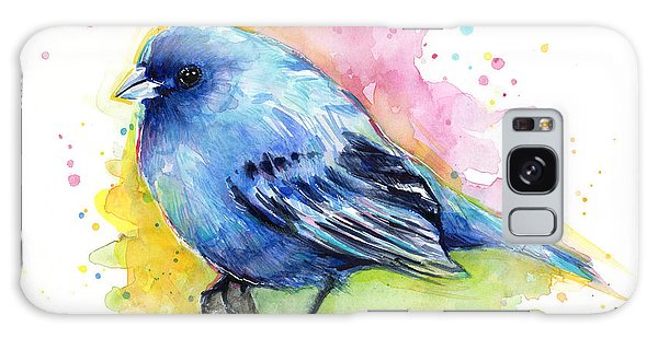 Indigo Bunting Blue Bird Watercolor Galaxy Case