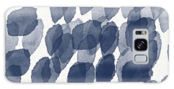 Bedroom Galaxy Case - Indigo Rain- Abstract Blue And White Painting by Linda Woods