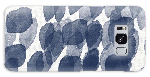 Woods Galaxy Case - Indigo Rain- Abstract Blue And White Painting by Linda Woods