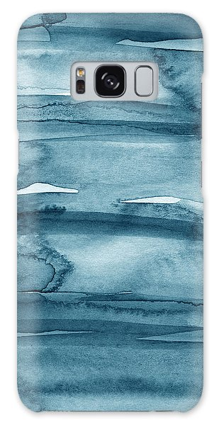 Center Galaxy Case - Indigo Water- Abstract Painting by Linda Woods
