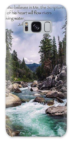 Inspirational Bible Scripture Emerald Flowing River Fine Art Original Photography Galaxy Case by Jerry Cowart