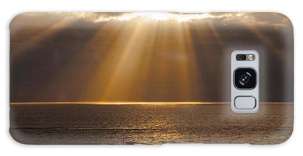 Inspirational Sun Rays Over Calm Ocean Clouds Bible Verse Photograph Galaxy Case by Jerry Cowart
