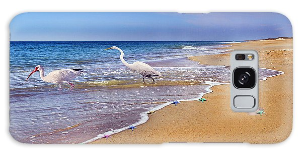Ibis Galaxy S8 Case - Inspiring Ibis Egret Sandpiper Starfish Sand Dollars  by Betsy Knapp
