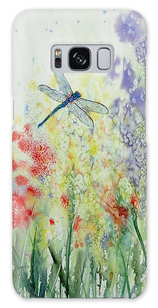 Iridescent Dragonfly Dances Among The Blooms Galaxy Case by Susan Duda