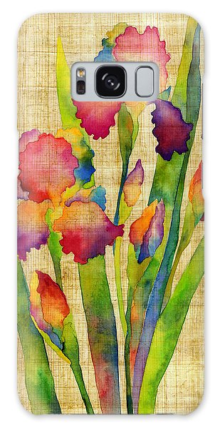 Bloom Galaxy Case - Iris Elegance On Yellow by Hailey E Herrera