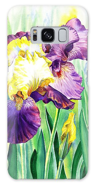 Galaxy Case featuring the painting Iris Flowers Garden by Irina Sztukowski