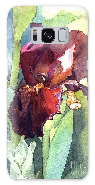 Iris In Red And Burgundy Galaxy Case by Greta Corens