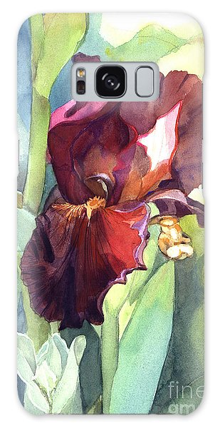 Watercolor Of A Tall Bearded Iris Called Sultan's Palace In Red And Burgundy Galaxy Case