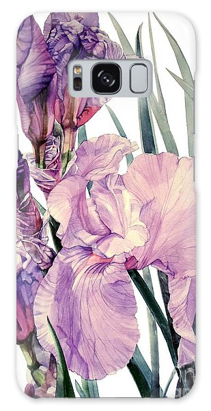 Watercolor Of An Elegant Tall Bearded Iris In Pink And Purple I Call Iris Joan Sutherland Galaxy Case