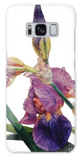 Watercolor Of A Tall Bearded Iris In A Color Rhapsody Galaxy Case
