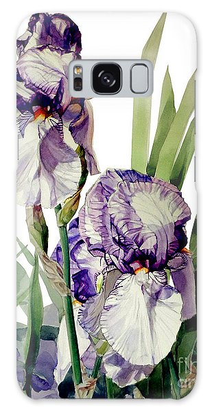 Watercolor Of A Tall Bearded Iris In Violet And White I Call Iris Selena Marie Galaxy Case