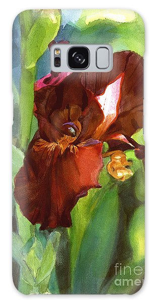 Watercolor Of A Tall Bearded Iris In Sienna Red Galaxy Case