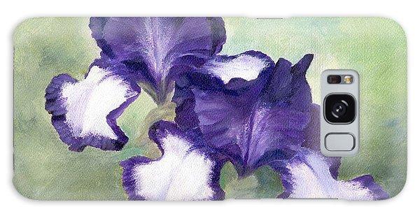 Irises Duet In Purple Flowers Colorful Original Painting Garden Iris Flowers Floral K. Joann Russell Galaxy Case