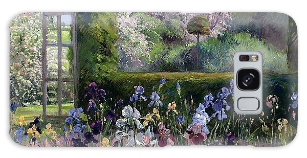 Flowerbed Galaxy Case - Irises In The Formal Gardens, 1993 by Timothy Easton
