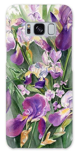 Irises In The Garden Galaxy Case by Nadine Dennis