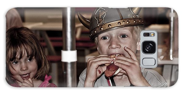Is She Adoring Her Viking Or Coveting His Lunch Galaxy Case by Sandi Mikuse