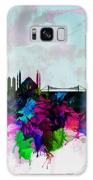 Turkey Galaxy Case - Istanbul Watercolor Skyline by Naxart Studio
