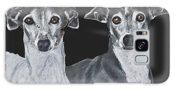 Italian Greyhounds Portrait Over Black Galaxy Case