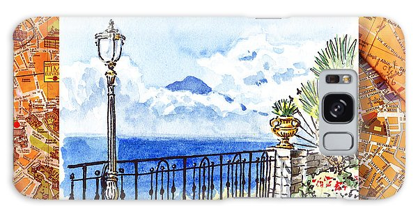 Italy Sketches Sorrento View On Volcano Vesuvius  Galaxy Case